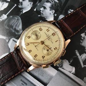 【送料無料】ヴィンテージジャンボクロノグラフローズピンクゴールドkvintage watch exactus oversize jumbo chronograph rose pink gold 18k landeron