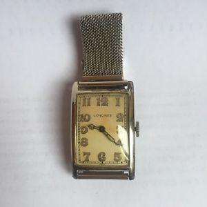 【送料無料】ktゴールドゴールドブレスレットケースlongines anni 30 con cassa in oro 18 kt e bracciale in oro 14 kt