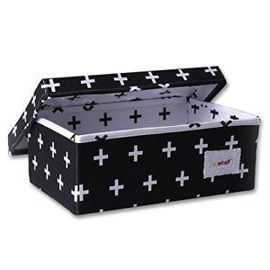 【送料無料】ラックminene, cesto portaoggetti, piccolo, nero con croci bianche
