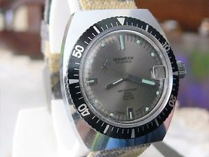 【送料無料】ダイバーメートルorologio seawatch  diver waterproof 60 mt data anni 70