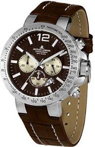 ジャックルマンカラーブラウンjacques lemans 11759e  orologio da polso uomo, pelle, colore marrone