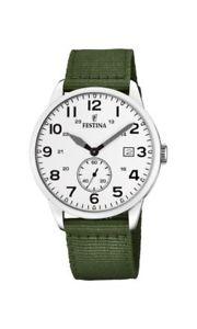 ファブリックストラップウォッチグリーンfestina orologio da uomo f203471 con cinturino in tessuto verde
