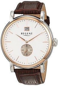【送料無料】リージェントカラーブラウンregent 11120113 orologio da polso uomo, pelle, colore marrone t6f