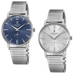 【送料無料】orologio festina extra uomo acciaio cinturino elastico silver argento blu tempo