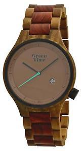 【送料無料】クロックグリーンサンダルウォッチorologio green time minimal uomo watch zw062c wood legno sandalo rosso gent