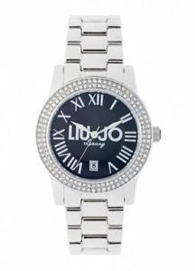 リュージョースチールスワロフスキーorologio donna liu jo luxury infinity tlj436 acciaio swarovski silver nero