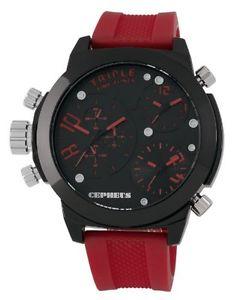 【送料無料】ケフェウスシリコーン×cepheus cp902624 orologio da polso uomo, silicone, colore rosso h7x