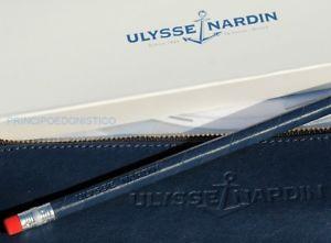 【送料無料】ケースドアクロックオリジナルastuccio porta orologio in pelle blu originale ulysse nardin nuovo con matita