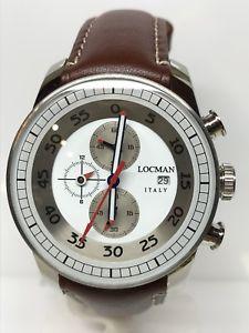 【送料無料】クロノウォッチブラウンorologio locman aviatore chrono 44mm 480 acciaio pelle brown scontatissimo
