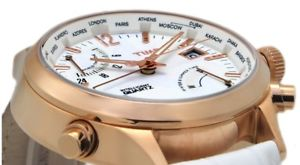 orologio donna timex,intelligent iq world time,bianco,oro rosa,retroilluminato