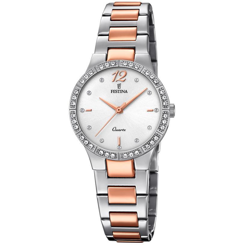 【送料無料】festina orologio donna acciaio bicolore quad argento f202412