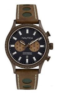 クロックマンナイクロノブラウンブラックベージュサブメートルorologio uomo nautica nai19538g chrono pelle marrone nero beige sub 100mt