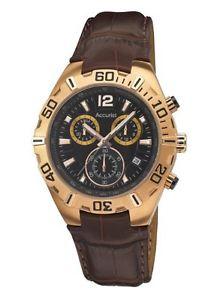 【送料無料】クロノグラフブラウンaccurist man orologio da polso, cronografo, uomo, pelle, marrone p0b