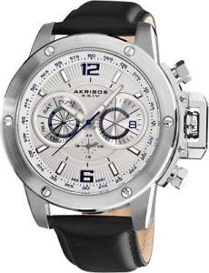 アナログストラップakribos xxiv akr469wt conqueror orologio da polso analogico da uomo, cinturino i