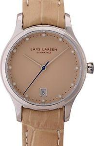 【送料無料】ラーセンレザーストラップlars larsen 139sssl orologio da polso da donna, cinturino in pelle colore beig