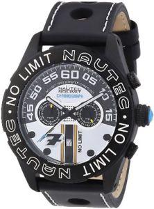 【送料無料】レザーカラーブラックnautec no limit lm qzltipbk orologio da polso uomo, pelle, colore nero