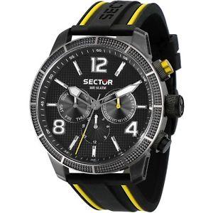 【送料無料】セクターウォッチマンブラックシリコンマルチファンクションorologio sector 850 r3251575014 watch uomo silicone nero giallo multifunzione