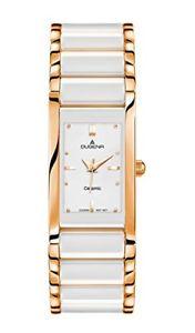 【送料無料】セラミックスカラーホワイトdugena 4460590 orologio da polso da donna, ceramica, colore bianco