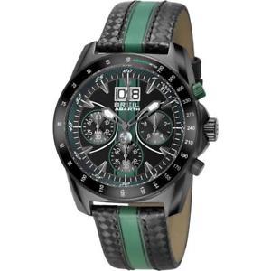 【送料無料】クロノブラックグリーンメートルorologio uomo breil abarth tw1361 chrono pelle nero verde 100mt