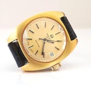 【送料無料】ティソクロックtissot carica manuale data donna nuovo anni 70 seastar orologio placcato oro
