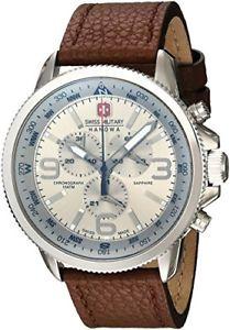 【送料無料】スイスクロノグラフブラウン×swiss military arrow orologio da polso, cronografo, uomo, pelle, marrone h5x