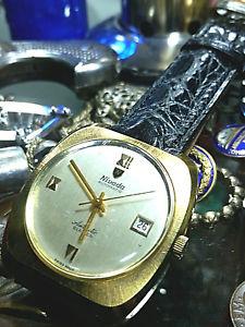 【送料無料】ビンテージローマorologio watch vintage rare nivada automatic gold plated oversize numeri romani