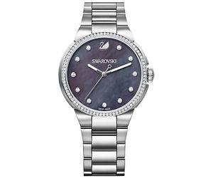 【送料無料】スワロフスキーパールスチールスイスorologio swarovski city 5205990 madreperla nera mop donna watch acciaio swiss