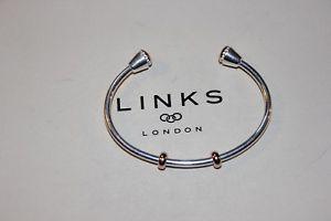 【送料無料】ブレスレット アクセサリ― ニューロンドンシルバーアスコットカフリンク listinggenuine links of london 925 silver 18k rgv ascot amulet charm cuff 50103715