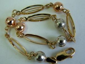 【送料無料】ブレスレット アクセサリ― レディースゴールドボブルボールファンシーリンクブレスレットインチladies 9ct tricolour gold bobble ball fancy link bracelet 775 inches