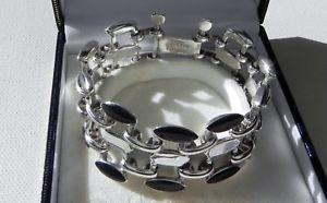 【送料無料】ブレスレット アクセサリ― gスターリングシルバーメキシコタスコハンドメイドオニキスブレスレットbest quality 48g sterling silver 950 mexico taxco handmade tm283 onyx bracelet