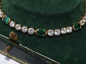 【送料無料】ブレスレット アクセサリ― イエローゴールドグリーンホワイトブレスレットグラム14ct yellow gold green white cz bracelet 7 long 830 grams