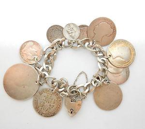 【送料無料】ブレスレット アクセサリ― ヴィンテージバーミンガムシルバーアンティークコインブレスレットvintage birmingham 1960 925 silver mixed antique coin charm bracelet 634g 75