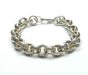 【送料無料】ブレスレット アクセサリ― スターリングシルバーソリッドラウンドベルチャーブレスレット925 sterling silver huge heavy solid patterned round belcher bracelet 698g