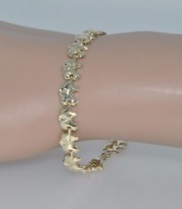 【送料無料】ブレスレット アクセサリ― イエローゴールドエレファントリンクブレスレット9ct yellow gold elephant link bracelet