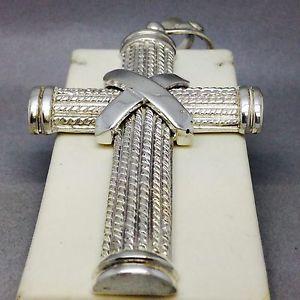 【送料無料】ブレスレット アクセサリ― ソリッドクロスlarge handmade solid 925 silver pattered cross 451g