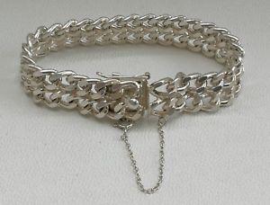 【送料無料】ブレスレット アクセサリ― ロンドンソリッドシルバーダブルリンクブレスレットインチvtg 1976 agc of london solid silver double curb link bracelet 8 inches long 48g
