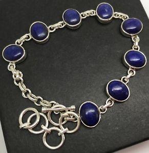 【送料無料】ブレスレット アクセサリ― ラピスラズリブレスレットソリッドスターリングシルバーlapis lazuli gemstone bracelet, solid sterling silver, actual one, oval