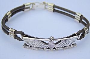 【送料無料】ブレスレット アクセサリ― シルバーレザーブレスレットnekhebet 925 silver amulet on a silver and leather bracelet hallmarked