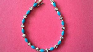 【送料無料】ブレスレット アクセサリ― スターリングシルバーターコイズブレスレットgenuine sterling silver turquoise and cz bracelet fully hallmarked