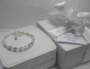 【送料無料】ブレスレット アクセサリ― パーソナライズブレスレットシルバーgirls first holy communion gift personalised any name or word bracelet silver