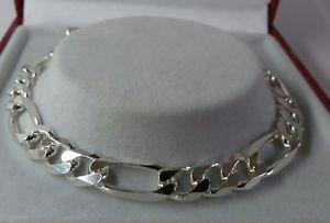 【送料無料】ブレスレット アクセサリ― ソリッドフィガロブレスレットインチイギリスsterling silver gents solid figaro bracelet 85 inch 129g british made