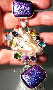 【送料無料】ブレスレット アクセサリ― ダイクロイックガラスブレスレット925 silver 61gr dichroic glass, gemstones amp; biwa pearl bracelet