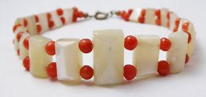 【送料無料】ブレスレット アクセサリ― アンティークアールデコブレスレットantique art deco mother of pearl amp; natural coral bracelet