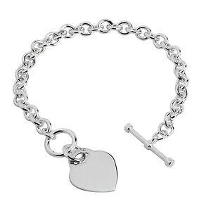 【送料無料】ブレスレット アクセサリ― シルバーハートタグバーブレスレットソリッドスターリング75 silver heart tag tbar bracelet solid sterling silver hallmarked boxed