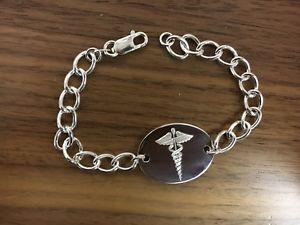 【送料無料】ブレスレット アクセサリ― スターリングシルバーアラートブレスレットサービスsterling silver sos medical alert bracelet, 75 free engraving