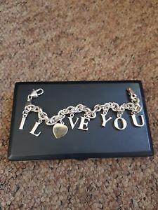 送料無料 ブレスレット アクセサリ― シルバーブレスレットイエローゴールド listingsterling silver 925 chunky i love you bracelet 14ct heart 585 yellow gold 7554q3ARjL