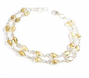 【送料無料】ブレスレット アクセサリ― シトリンスターリングシルバーブレスレットカットcitrine gemstone 925 sterling silver bracelet pear cut uk hallmarked 104 g