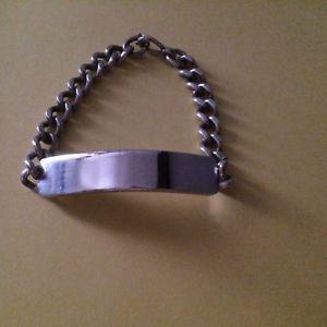 【送料無料】ブレスレット アクセサリ― ビンテージソリッドシルバーブレスレットインチグラムvintage 925,solid silver id bracelet, 8,14,inches long, 4394,grams, birm 1972