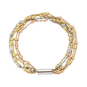 【送料無料】ブレスレット アクセサリ― ロンドンカラーシルバーマルチストランドビーズブレスレットjewelco london 3colour silver multi strand bead magnetic bracelet