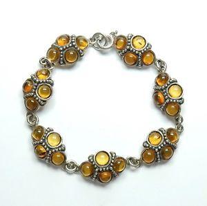 【送料無料】ブレスレット アクセサリ― ビンテージスターリングシルバーリンクブレスレットvintage 925 sterling silver five round stone amber link bracelet 187g 7